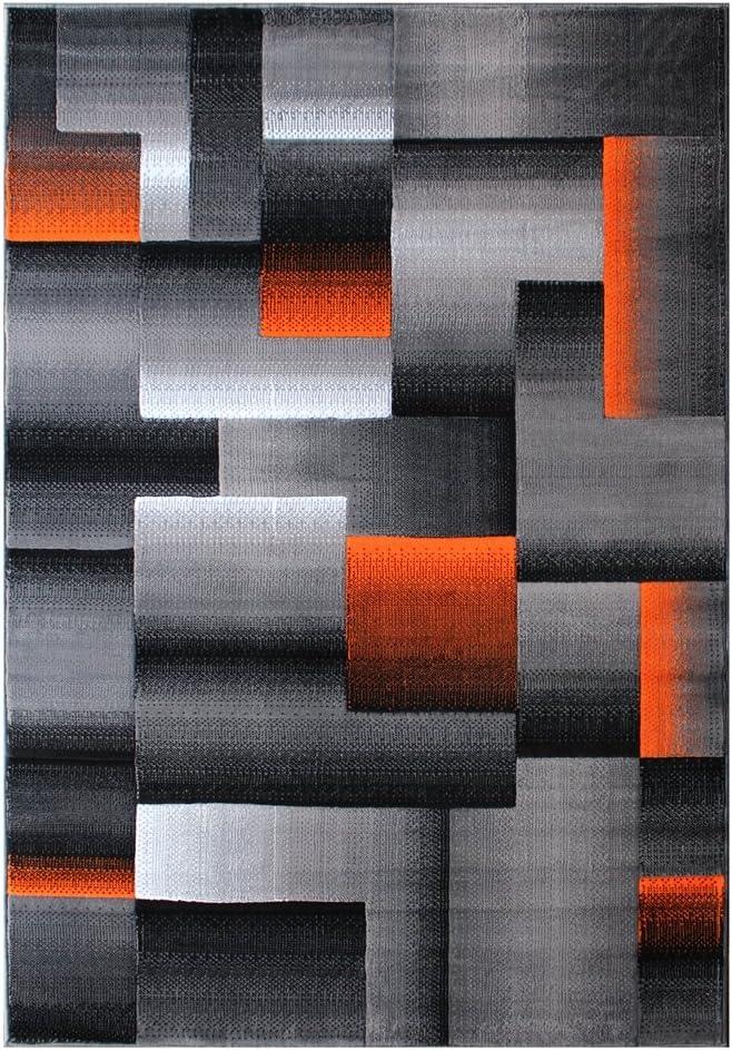 Masada Rugs, Modern Contemporary Area Rug, Orange Grey Black (5 Feet X 7 Feet)