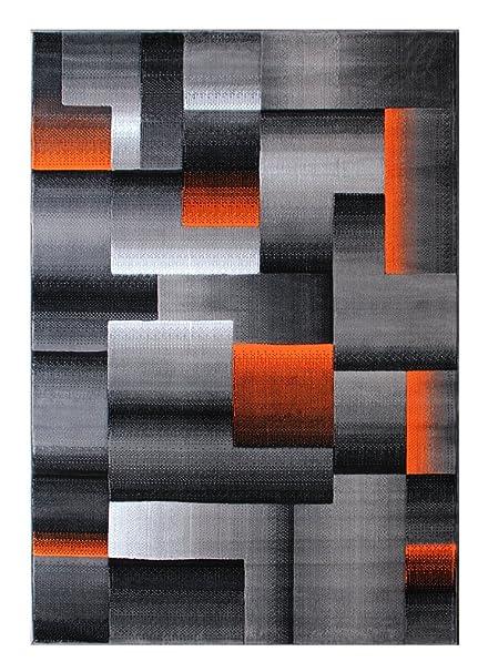 Masada Rugs Modern Contemporary Area Rug Orange Grey Black 8 Feet X 10 Feet