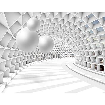 Fototapete 3D - Kugel Weiß 396 x 280 cm Vlies Wand Tapete Wohnzimmer ...