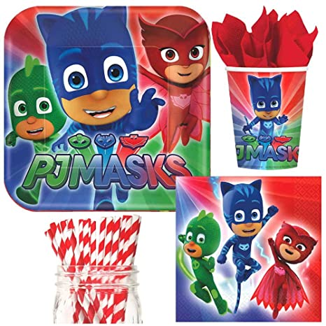 PJ Masks Party Supplies Bundle, Plates, Napkins, Cups & Straws for 16 Guests