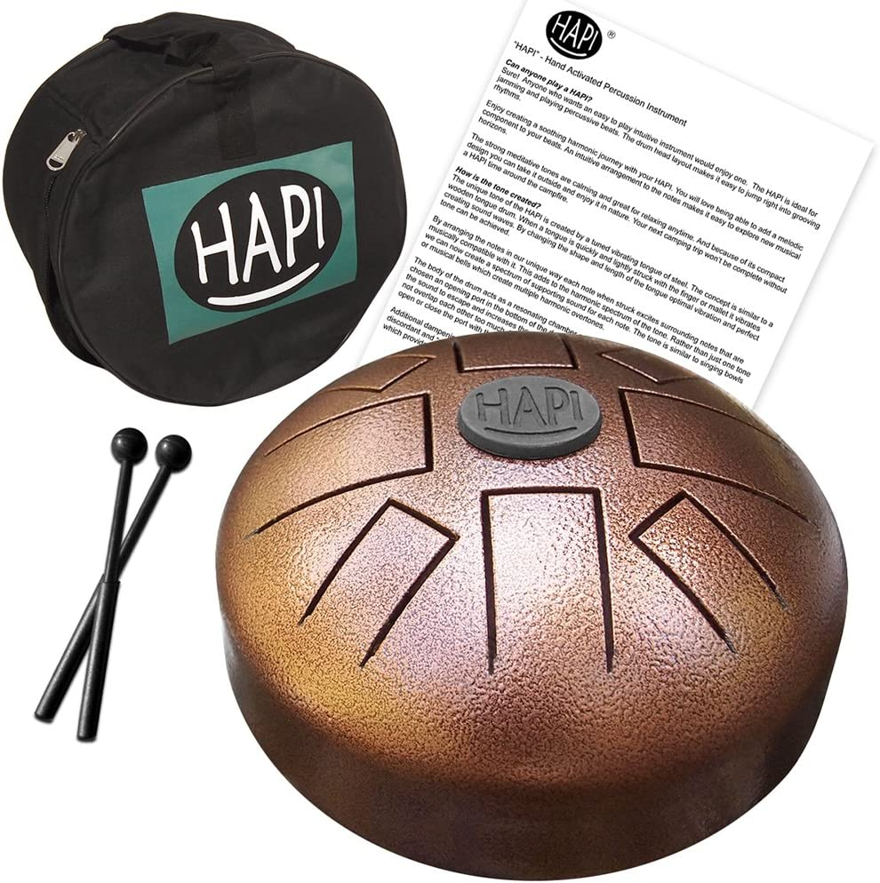 "HAPI HDMINIDAKE Tongue Drum 8"" Mini Steel Percussion Instrument"