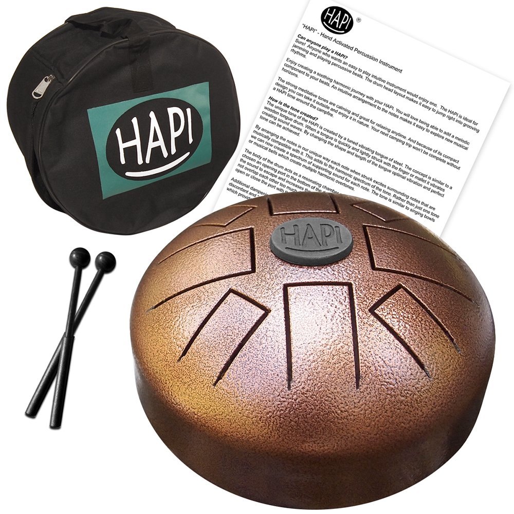 """HAPI HDMINIDAKE Tongue Drum 8"""" Mini Steel Percussion Instrument - great for Camping, Yoga, Meditation, Music Therapy - D Akebono Pentatonic with FREE padded travel bag"""