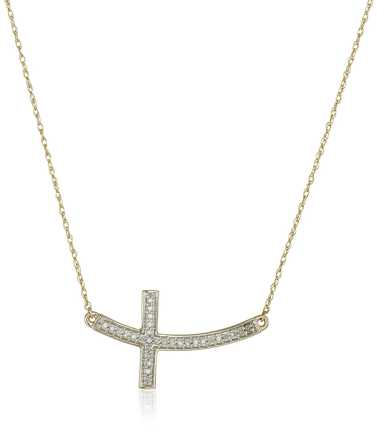 10k Yellow Gold Diamond Sideways Cross Pendant Necklace (1/10cttw, I-J Color, I2-I3 Clarity), 17""
