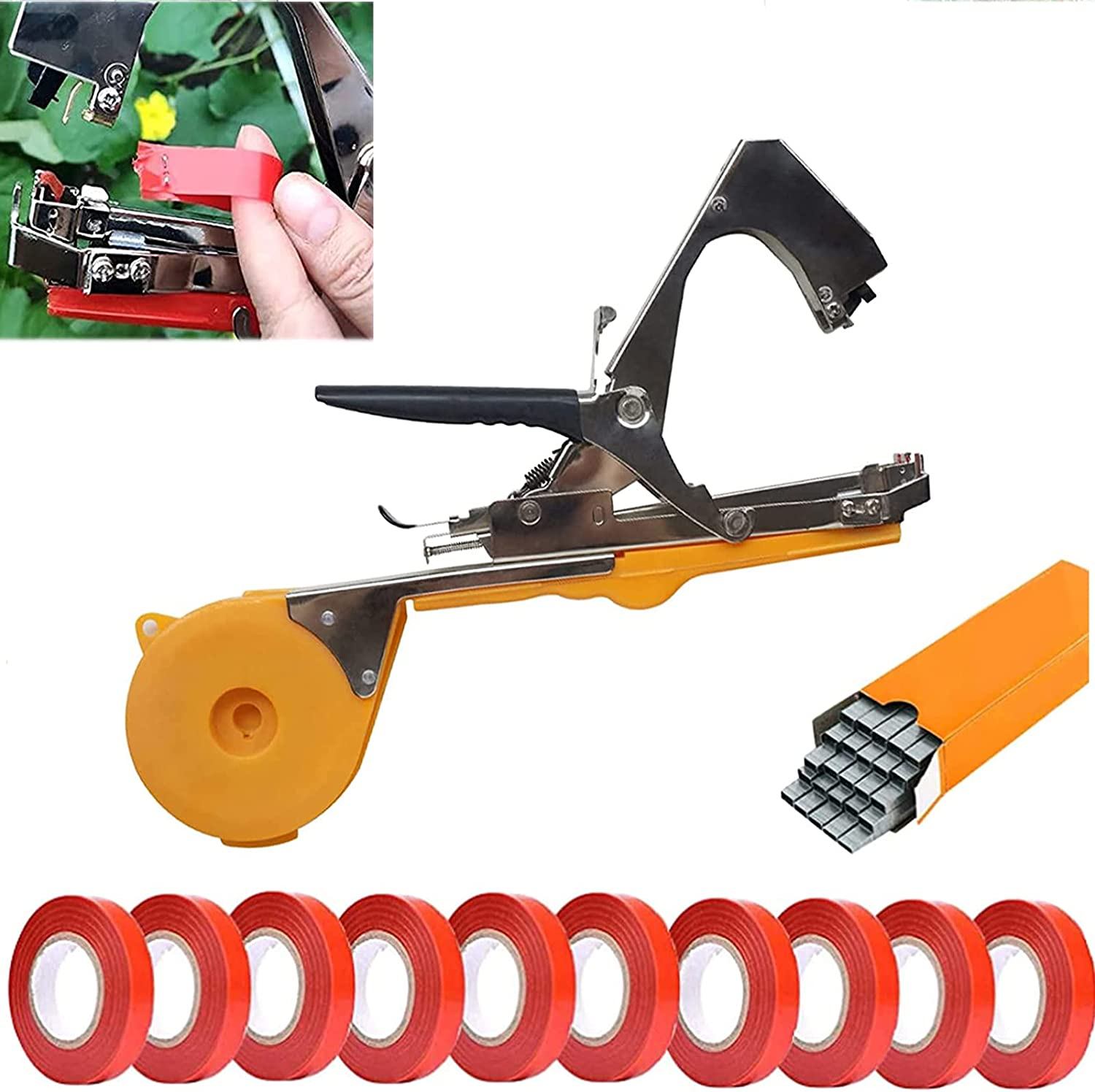 Fir ceda Plant Tying Machine,Plant Tying Gardening Tape Tool for Grapes, Raspberries, Tomatoes and Vining Vegetables,Comes with 10Tapes, 10000 Staples