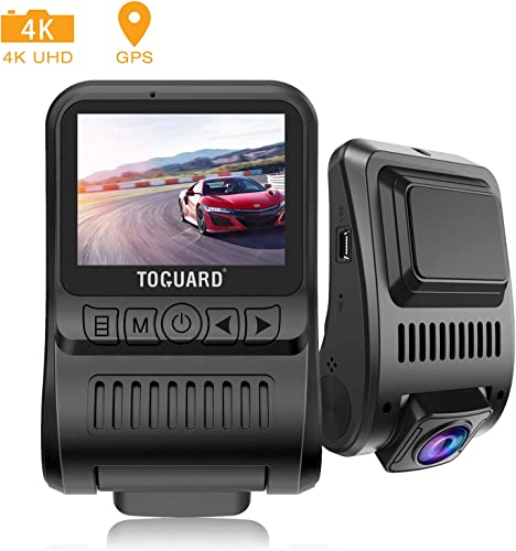 TOGUARD Upgraded Dash Cam 4K 3840x2160P GPS Dashboard Dash Camera for Cars 2 inch 170 Wide Angle Vehicle Driving Recorder with Loop Recording Parking Monitor Travelapse White Balance