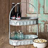 Galvanized Steel Industrial Country Corrugated Oval Tray 2 Tier Display