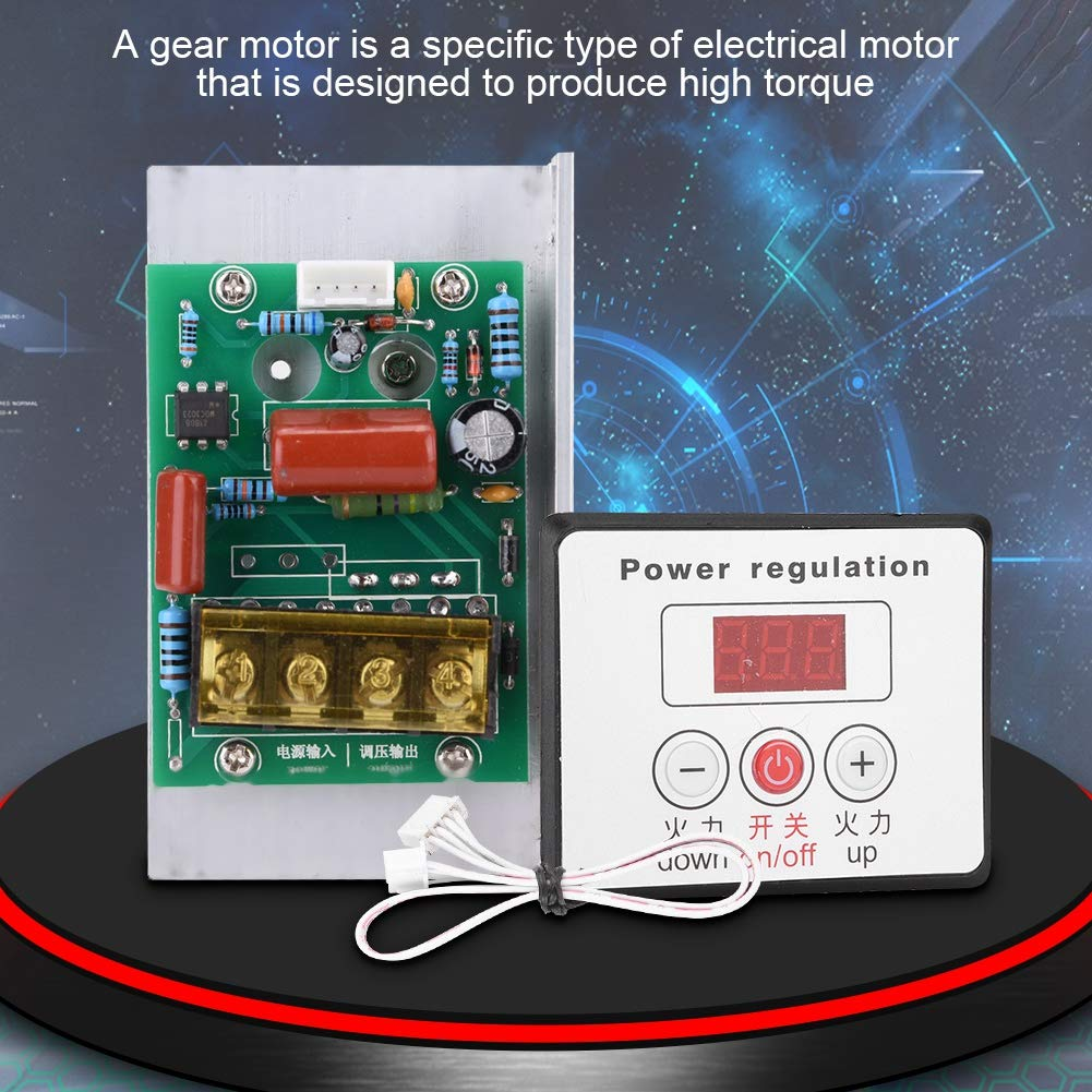 AC 220V 6000W Adjustable SCR Digital Voltage Regulator Electric Motor Speed Control Dimming Dimmer Thermostat Module by Wal front (Image #7)