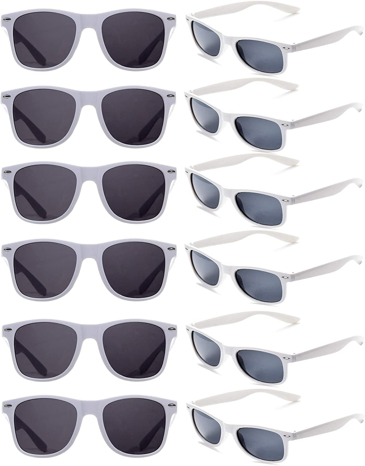 12 Pack Vintage 80's Retro Unisex Neon Sunglasses Party Favors for Kids and Adults