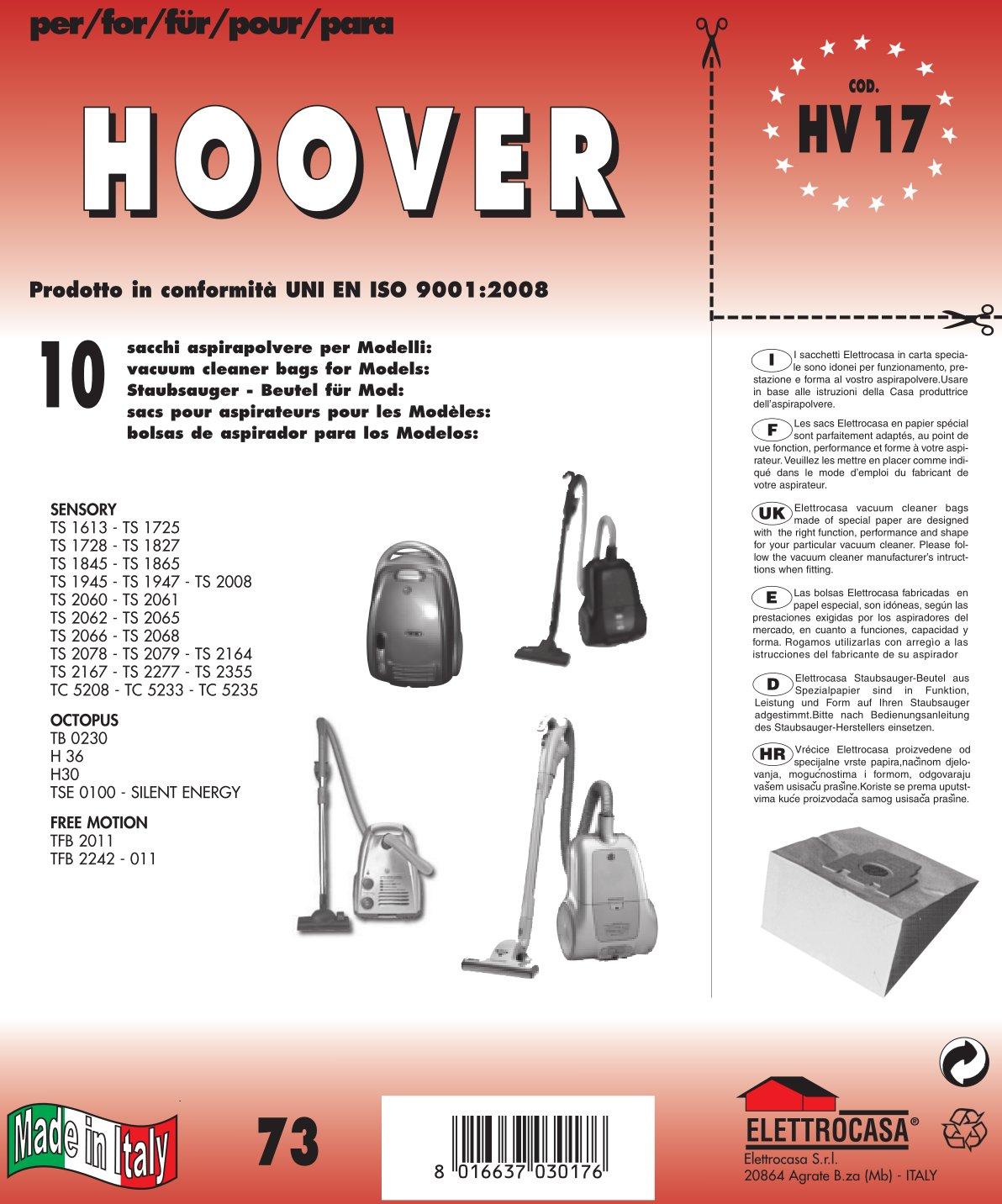 Acquisto HV 17 sacchetti per aspirapolvere confezione da 10 sacchi carta Prezzo offerta