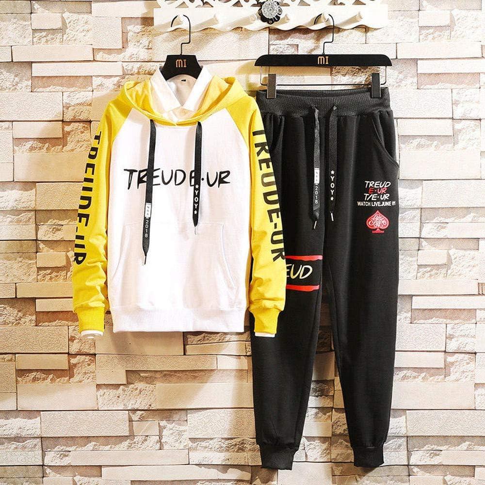 LYLIFE Men Colour Casual Hoodie Sweater Tracksuit Sport Jacket Coat Bottom Trouses 2PC