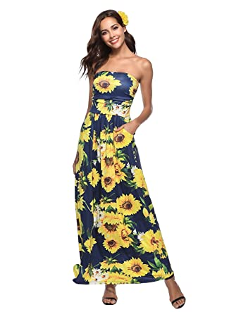 27dcbaebfad WAEKIYTL Women s Strapless Maxi Dress with Pocket Casual Floral Printed Long  Tube Dresses for Evening Party