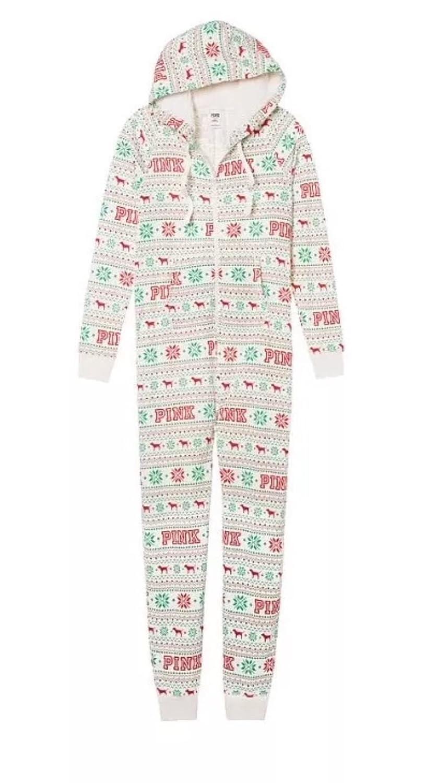 c17ea114c Victorias Secret Pink Sherpa Holiday Long Zip Up Onesie Pajamas SZ ...