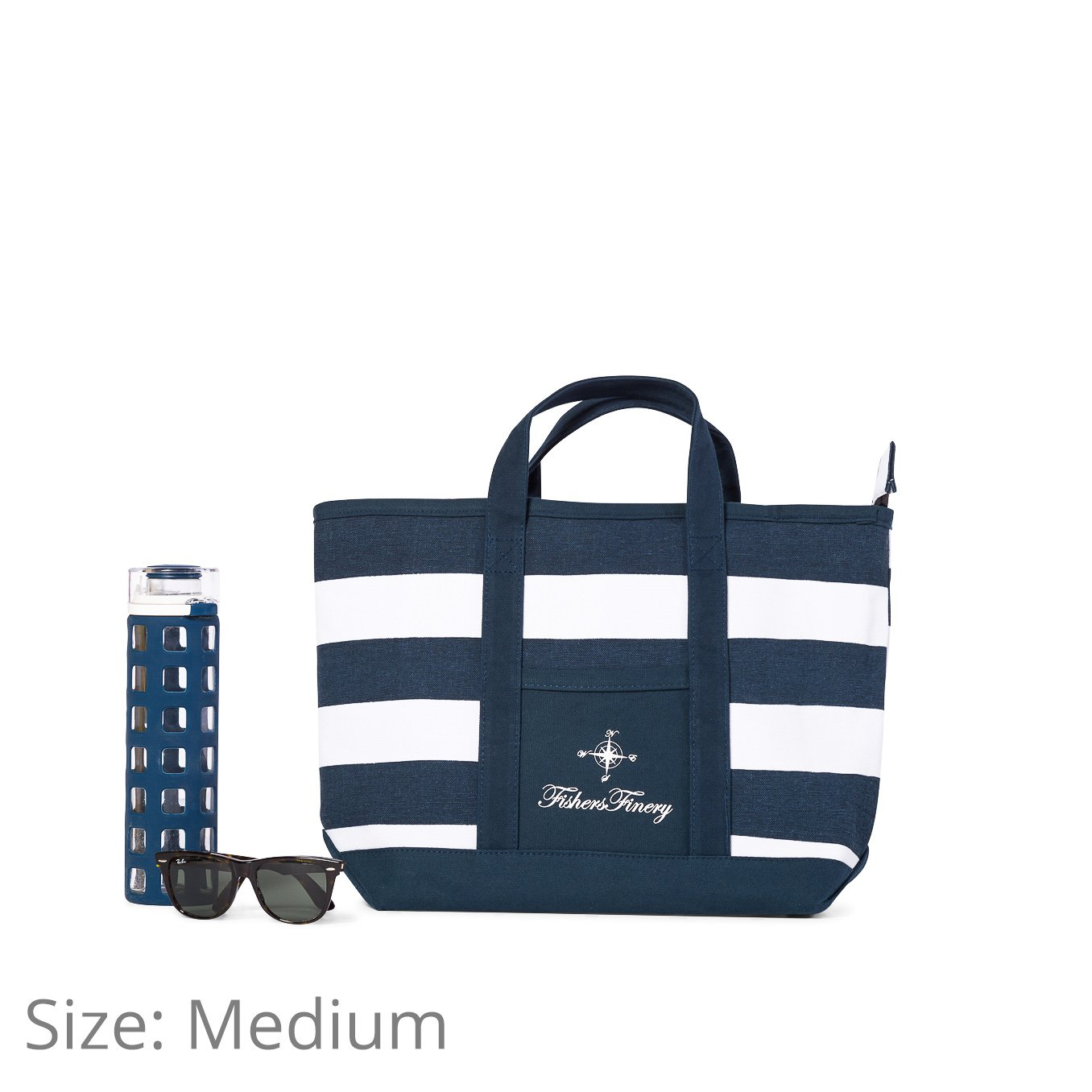 Fishers Finery Canvas Tote with Zipper and Lining with interior Pockets; Multi Sizes and Colors (Navy, S) by Fishers Finery (Image #7)