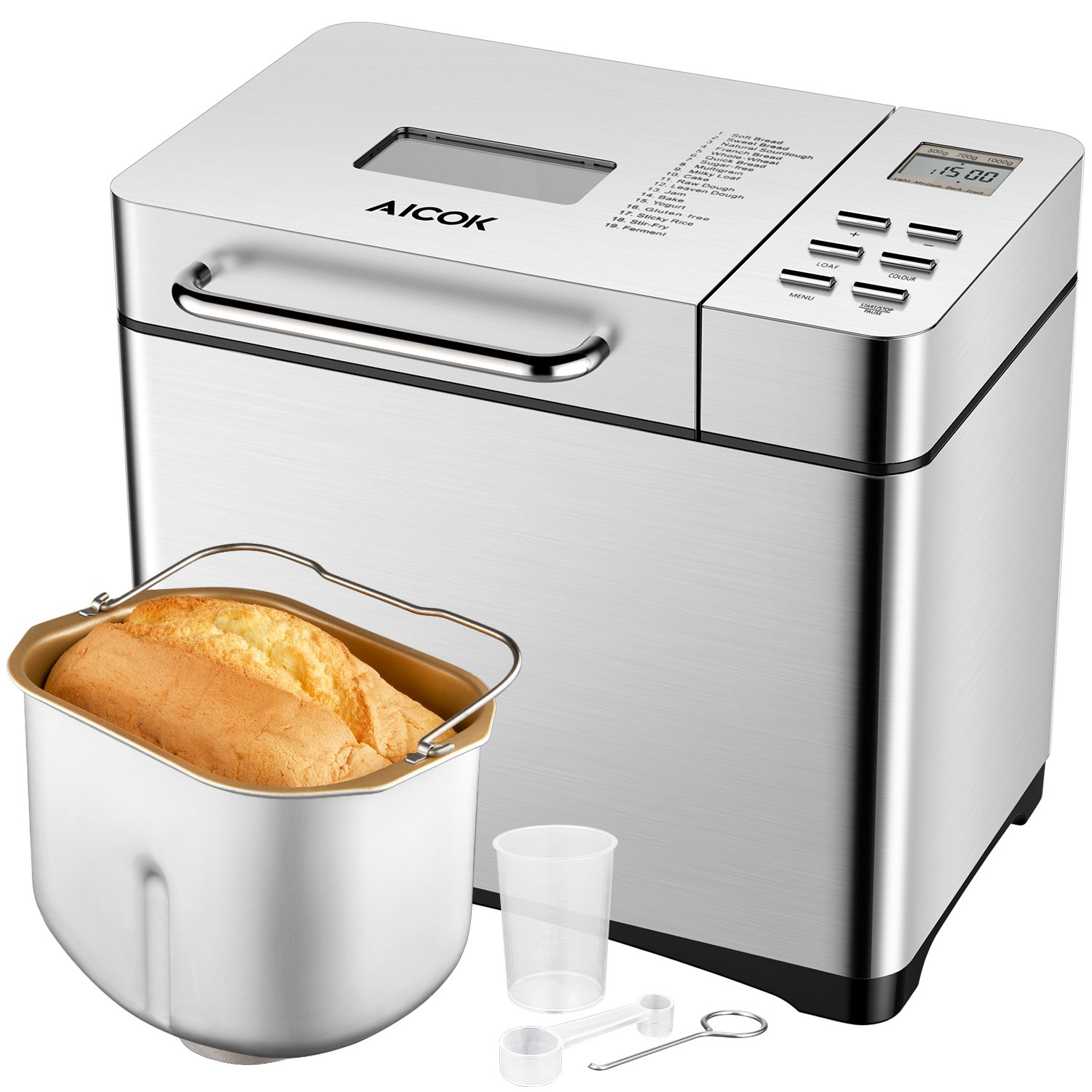 Aicok Programmable Bread maker, 2 Pound Automatic Bread Machine with 19 Programs Cycles, Gluten-Free Setting, FDA Certified, Silver