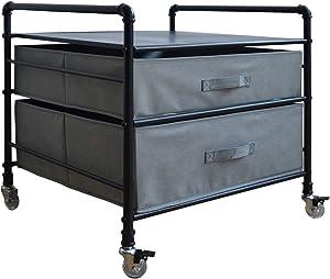 WAYTRIM Fridge Stand, 2 Drawer Organization Fridge Cart, Black Frame with Light Gray Drawers, 4 Swivel Wheels for Mobility