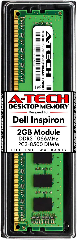 A-Tech 2GB RAM for Dell Inspiron 560, 560s, 570 | DDR3 1066MHz DIMM PC3-8500 240-Pin Non-ECC UDIMM Desktop Memory Upgrade Module