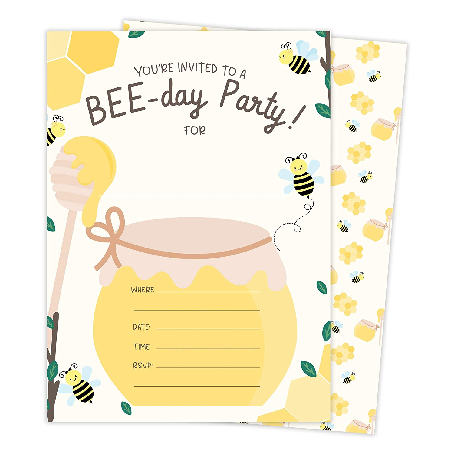 Amazon Bumble Bee 2 Happy Birthday Invitations Invite Cards 25 Count With Envelopes Seal Stickers Vinyl Boys Girls Kids Party 25ct Toys Games