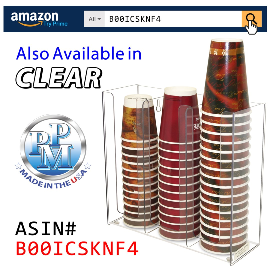 Coffee Cups or Lid Holder, 3 Columns 12''high. Non-Breakable, Now With Wall-Mount Holes. Proudly Made in the USA! and made by PPM. by Plastic & Products Marketing PPM (Image #6)