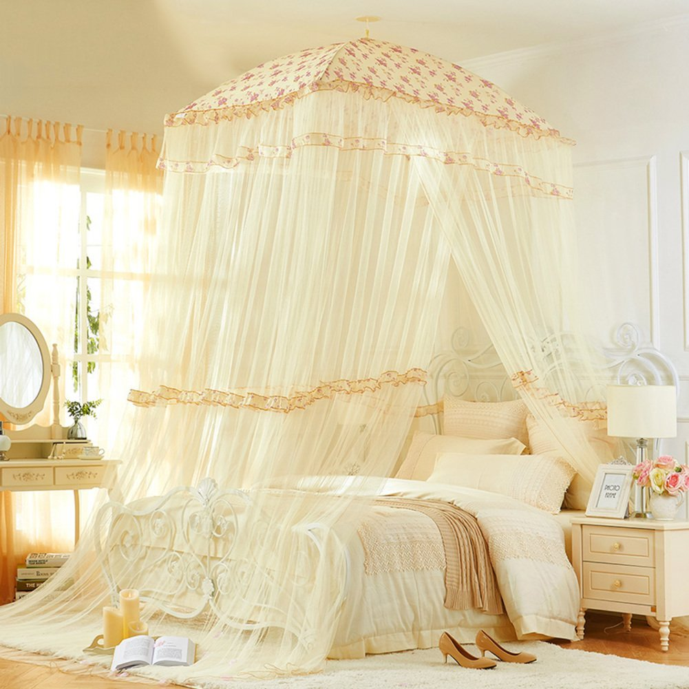 Court,Fang Top Luxury Mosquito Net/High Denisity,Double Bed Fashion,Ceiling Bed Net/Thicken,Dormitory Fine,Single Landing Nets-A E by fdgg