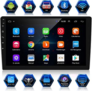 ANKEWAY New 10.1 Inch Android 9.1 Car Stereo with HiFi+WiFi+GPS+RDS+FM+Bluetooth, Double Din Car Radio 1080P HD Touch Screen Multimedia Player+Mirror Link(Android/iOS)+Backup Camera+Dual USB
