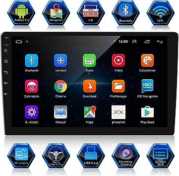 ANKEWAY 2 DIN 10.1 Pulgadas Android 9.1 Radio de Coche Navegación GPS 1080P HD Pantalla Táctil WiFi/Bluetooth Manos Libres Autoradio 1G/16G Multimedia ...