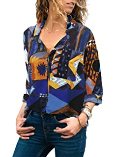 6f1f25872a3d51 Aleumdr Womens Color Block V Neck Long Sleeve Loose Button Down Blouse Tops