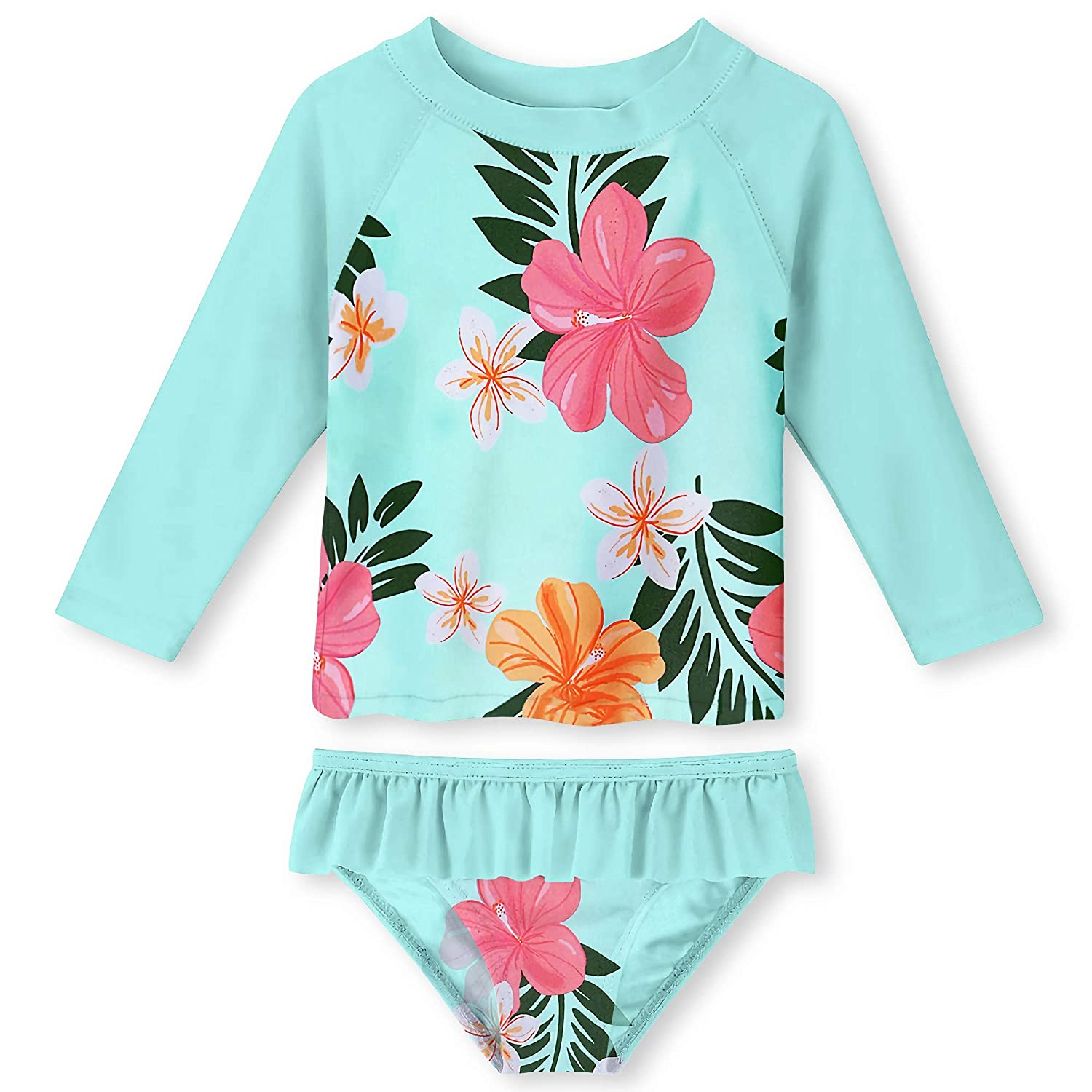 UNIFACO Toddler Girls Swimsuit Rashguard Set Summer Beach Breathable Tankini with UPF 50 Sun Protection 2-6T