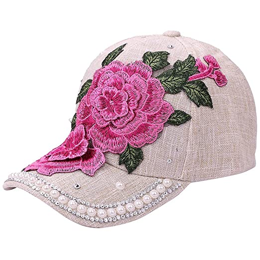 e6452683b29 Image Unavailable. Image not available for. Color  Zlolia Women Men  Adjustable Flower Rhinestone Denim Baseball Mesh Cap Hat