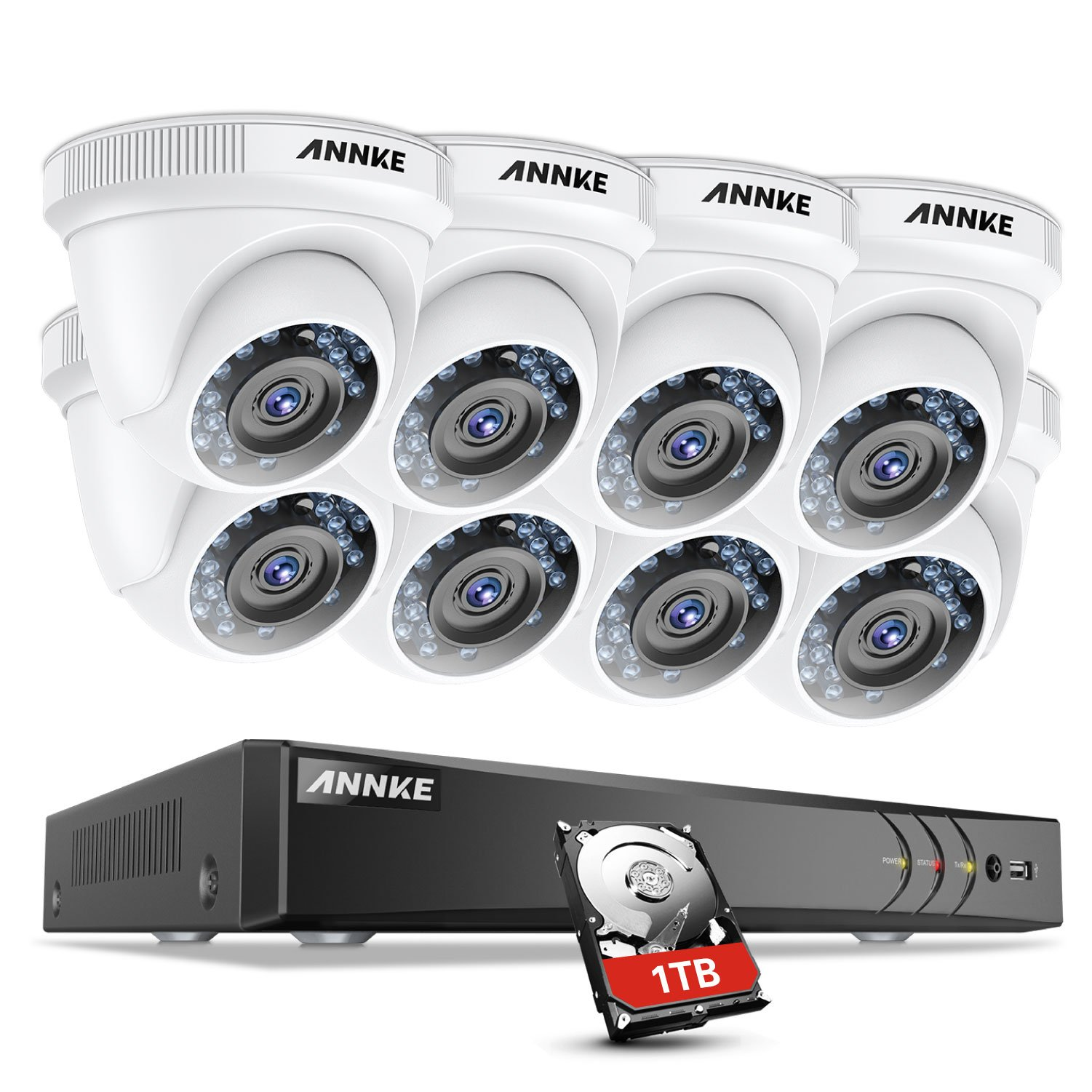 ANNKE 8-Channel 3MP(1920x1536@18fps) Security DVR Recorder with 1TB HDD and (8) HD 1920TVL 1080P CCTV Dome Cameras, Remote Access and Motion Detection by ANNKE