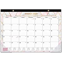 """2020 Desk Calendar - Desk/Wall Calendar 2020 with Transparent Protector, Marble, 17"""" x 12"""", Jan 2020 - Dec 2020, Perfect for Daily Schedule Planner, Ruled Blocks, Easily Tearing Off"""