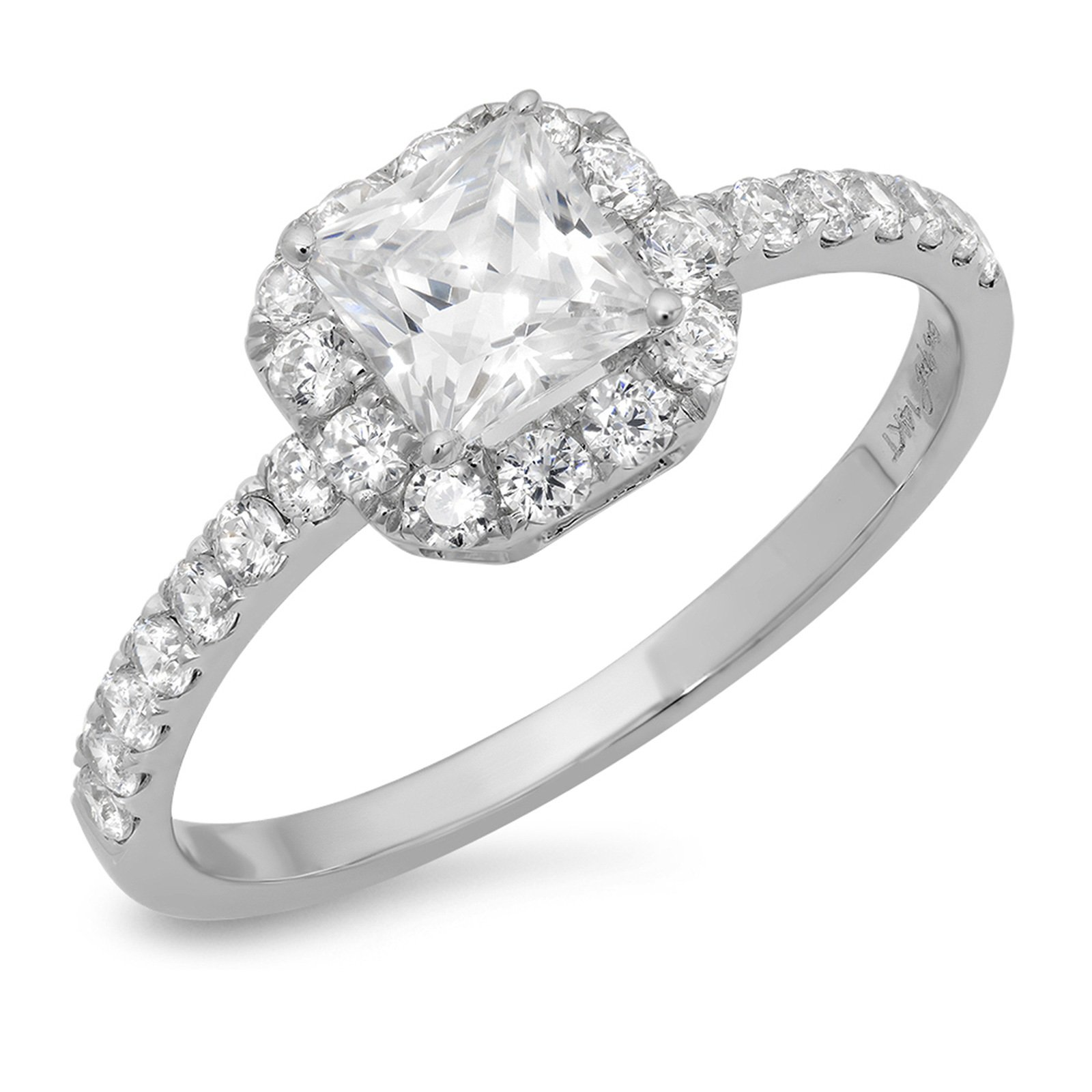Clara Pucci 1.3 CT Princess Cut Pave Halo Bridal Engagement Promise Band Ring 14k White Gold, Size 6.25 by Clara Pucci