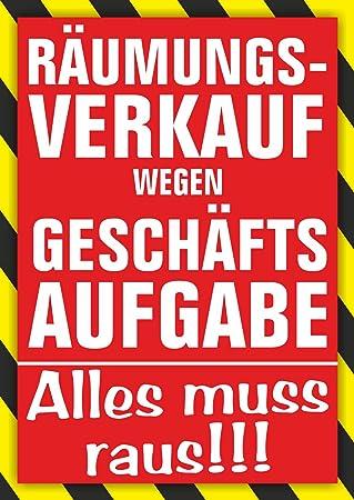 Plakat Räumungsverkauf wegen Geschäftsaufgabe DIN A1 / DIN A2 / DIN ...