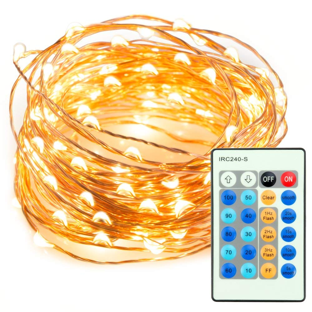 TaoTronics TT-SL036 33ft 100 LED String Lights Dimmable with Remote Control, Waterproof Decorative Lights. UL588 and TUVus Approved (Warm White) (Renewed)