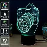 Macchina fotografica Lampada di Tocco Luminosa 3D di Fipart, Lampada di Atmosfera Dell'umore di 7 Colori, Con Base Acrilica e LED Elegante Decorativo USB