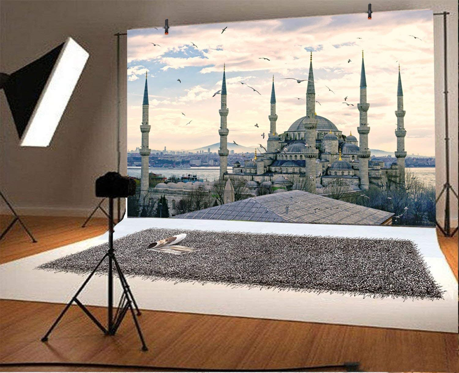 GoEoo 5x3ft Polyester Blue Mosque in Turkey Backdrop Famous Sites Photography Background World Famous Scenery Religious Belief Indoor Decors Wallpaper Photo Studio No Wrinkle