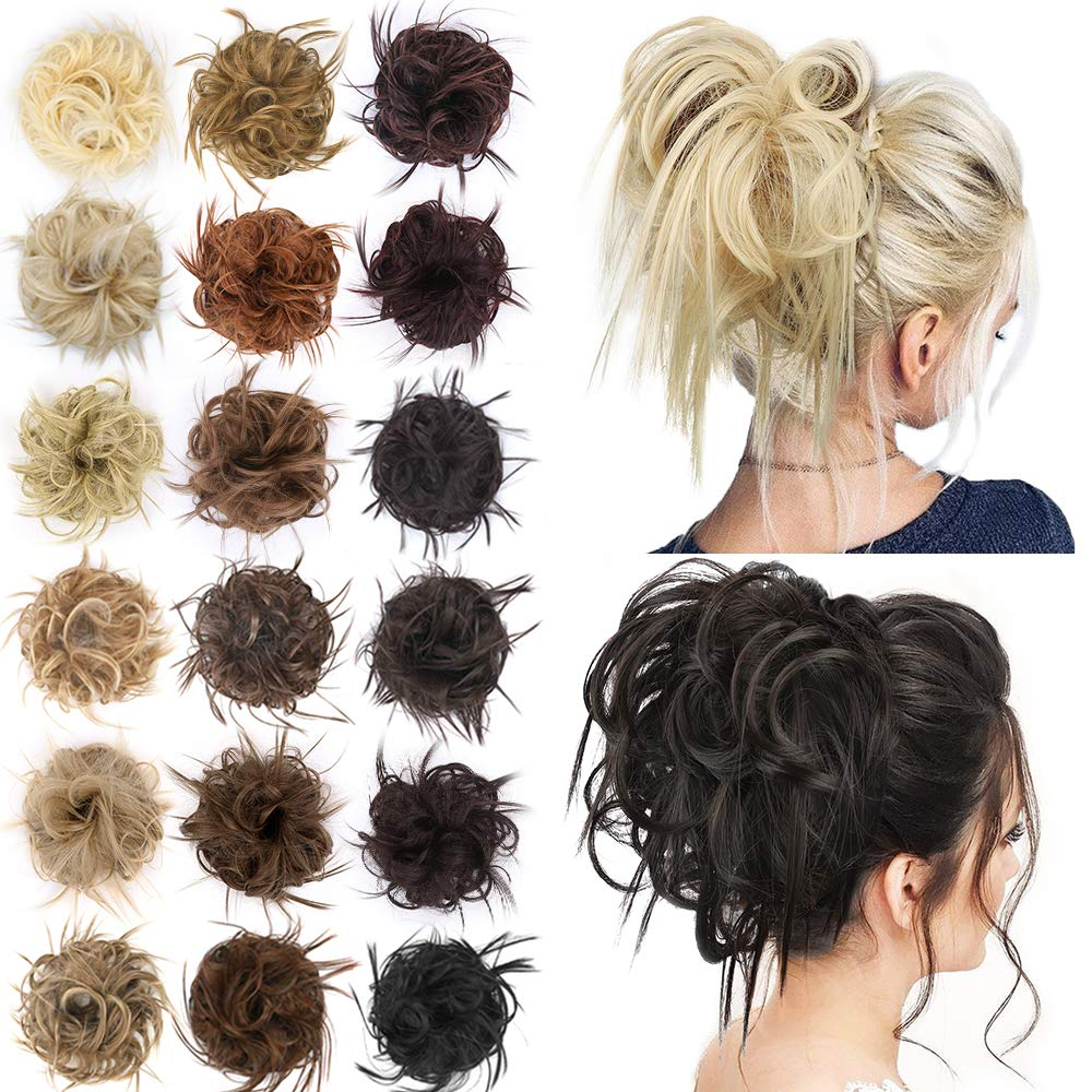 AISI BEAUTY Tousled Updo Hair Pieces Messy Bun Hair Scrunchies Extensions Hair Pieces and Ponytails Hair Extensions for Women (8#(Medium Brown))