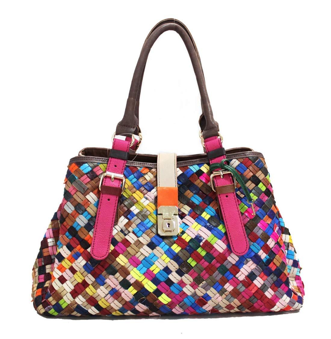 LilyAngel 本革 パッチワーク ハンドバッグ トットバッグ 旅行バック 鞄 本羊革 カラーフリー レディース メンズ 収納 大容量 (Color : Colour) B07KQSLBV9 Colour