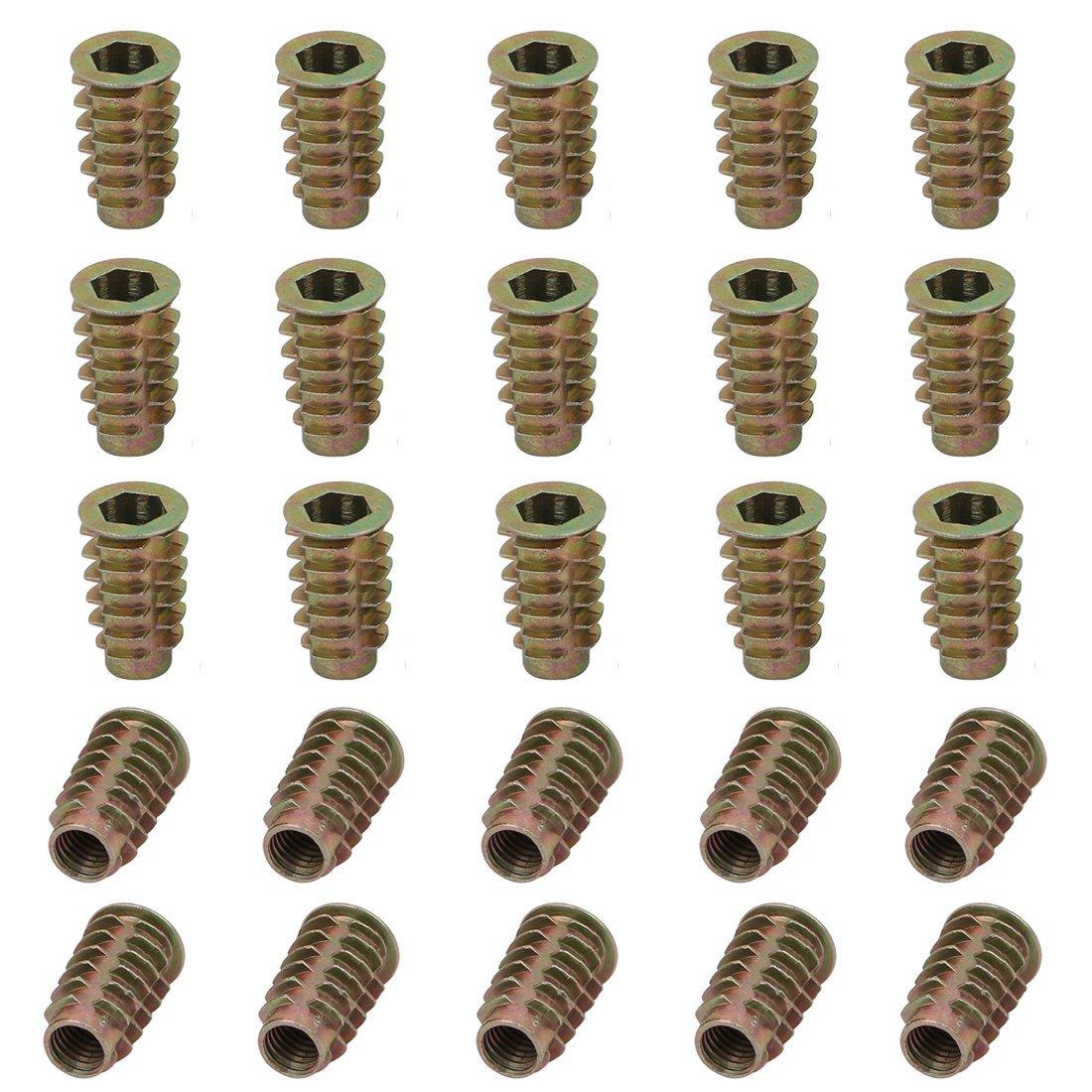 ZXHAO M8x25mm//0.31 x 0.98 inch Zinc Alloy Wood Furniture Hex Socket Head Threaded Insert Nut 25pcs