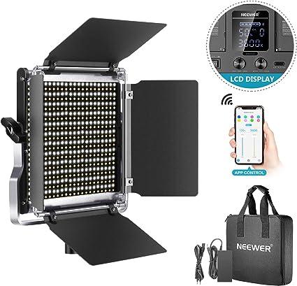 Todo para el streamer: Neewer 528 LED Luz Video Kit Iluminación Fotografía Bicolor Regulable con Sistema de Control Inteligente App Profesional para Video Youtube con Pantalla LCD Metal 3200K-5600K