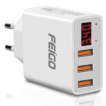 FEIGO Adaptador Enchufe Universal Cargador Móvil Enchufe Adaptador Internacional con 3 Puertos USB 5V/2.4A para ...