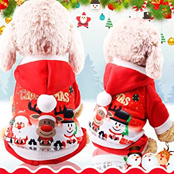 8fada6ccc13 WEISHAZI Christmas Pet Hoodie Coat Hat Santa Claus Deer Snowman New Year  Clothing Costume Cute Lovely