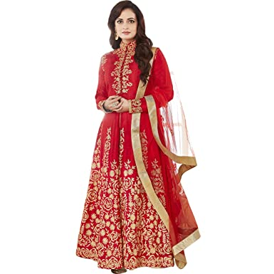6a71ae3f76 Vasu Saree Dia Mirza Floor Length Bangalore Anarkali Salwar Suit In Red  Colour: Amazon.in: Clothing & Accessories