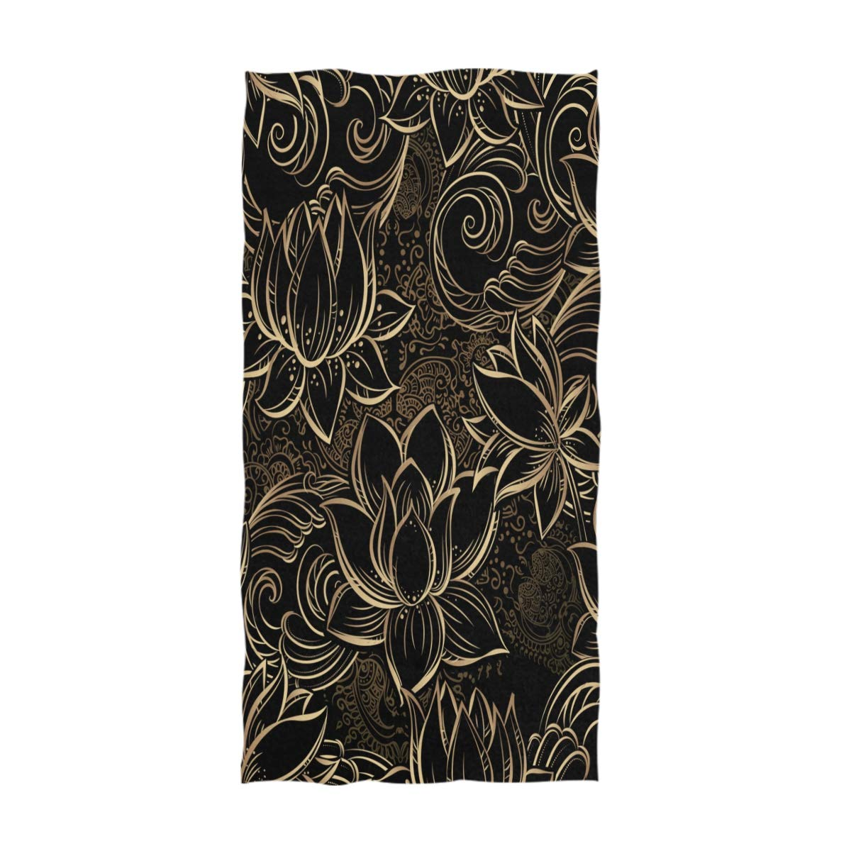 Hotel 16 x 30 Inches Naanle Mardi Gras Fleur De Lis Pattern Soft Highly Absorbent Guest Large Home Decorative Hand Towels Multipurpose for Bathroom Gym and Spa