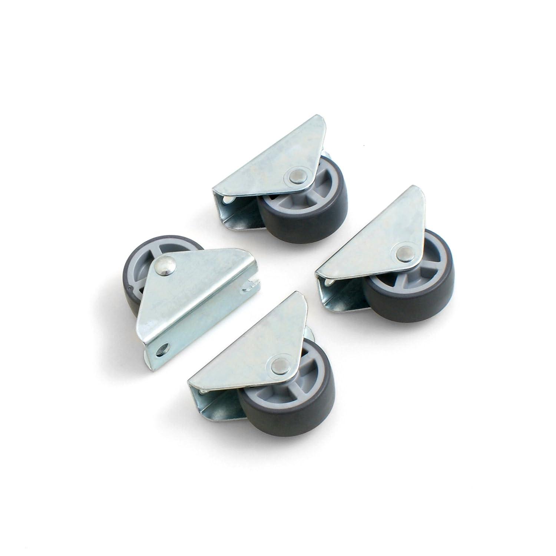 Design61 Jeu de 4 roulettes fixes Pour meuble, coffre Surface de roulement souple 30 x 14 mm coffre Surface de roulement souple 30x 14mm