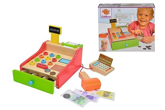 Eichhorn 100003717 - Kasse 16,5x26x16cm mit Kartenlesegerät und Scanner inkl. Spielgeld, Karte und Papierrolle, Lindenholz