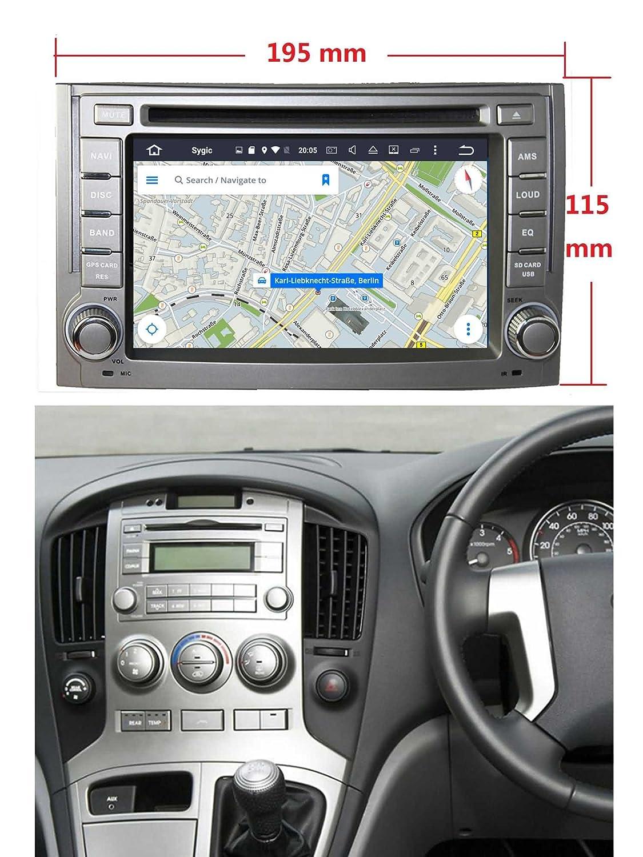 2 Din 6.2 pouces Android 7.1 stéréo de voiture pour Hyundai I800/H1/iLoad/H300/Starex(2007-2013),DAB+ radio 800x480 écran tactile capacitif avec Quad Core Cortex A9 1.6G CPU 16G flash et 2G de RAM DDR3 GP