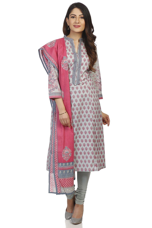 BIBA Women's Turquoise Cotton Salwar Kameez Dupatta Size 42