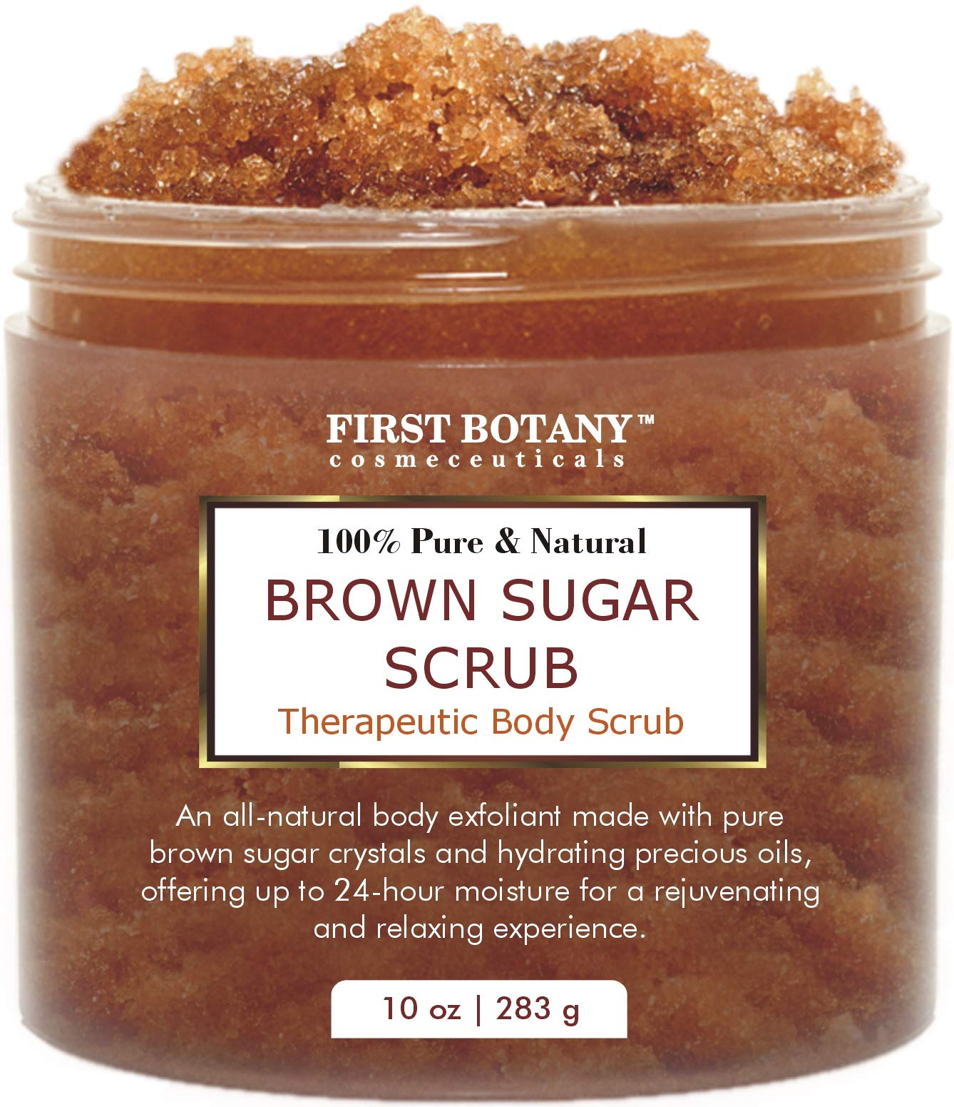 Brown Sugar Natural Body Scrub – 100% Natural Best for Acne, Cellulite Cream/Scrub and Stretch Mark treatment, Moisturizer, Face Scrub 10 oz