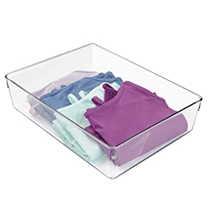 "iDesign Linus Plastic Dresser and Vanity Organizer, Storage Bin for Bathroom, Bedroom, Office, Craft Room, Fridge, Freezer, Pantry, 12"" x 9"" x 3"" , Clear"