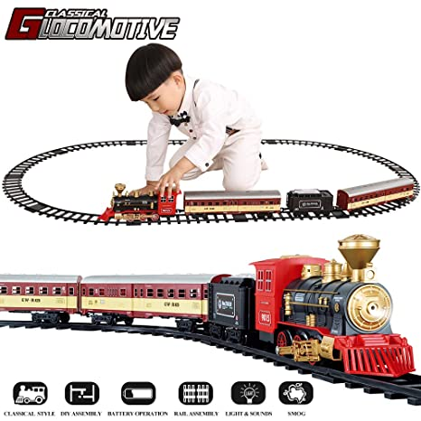 TEMI Electronic Classic Railway Train Sets w/ Steam Locomotive Engine,  Cargo Car and Tracks, Battery Operated Play Set Toy w/ Smoke, Light &  Sounds,
